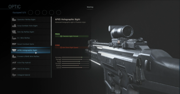 CoD: MW 2019 | APX5 Holographic Sight - Optic Stats | Call of Duty: Modern Warfare