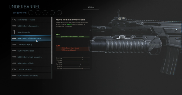 Warzone | M203 40mm Smokescreen - Underbarrel Stats | Call of Duty Modern Warfare - GameWith