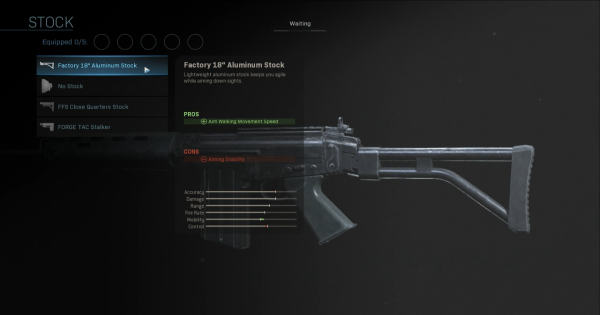 """【Warzone】Factory 18"""" Aluminum Stock - Stock Stats【Call of Duty Modern Warfare】 - GameWith"""