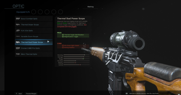 Warzone | Thermal Dual Power Scope - Optic Stats | Call of Duty Modern Warfare - GameWith