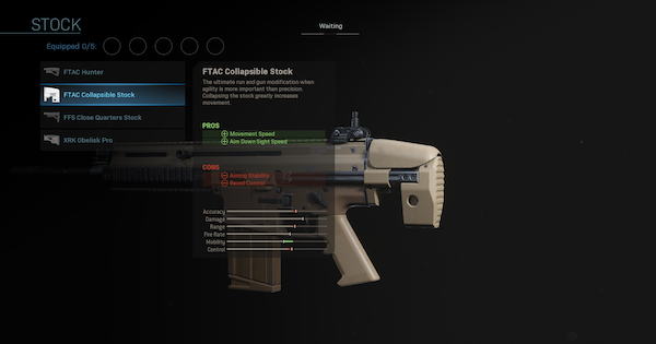 Warzone | FTAC Collapsible Stock - Stock Stats | Call of Duty Modern Warfare - GameWith