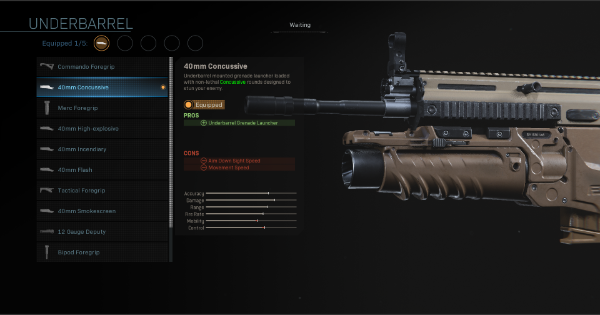 Warzone | 40mm Concussive - Underbarrel Stats | Call of Duty Modern Warfare - GameWith