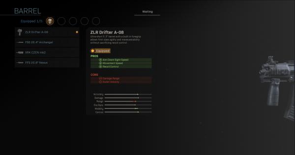 Warzone | ZLR Drifter A-08 - Barrel Stats | Call of Duty Modern Warfare - GameWith