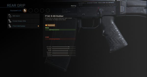 Warzone | FTAC R-89 Rubber - Rear Grip Stats | Call of Duty Modern Warfare - GameWith