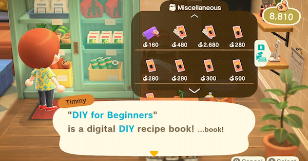 ACNH | DIY for Beginners - Which Recipes Are Unlocked | Animal Crossing - GameWith