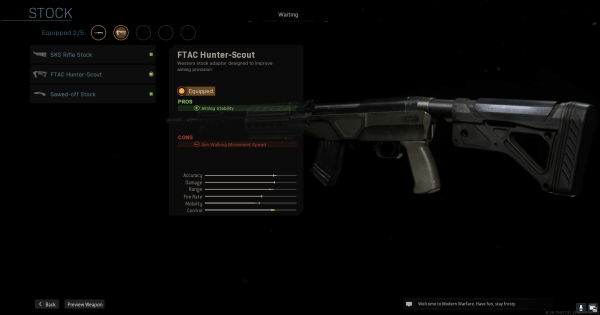 Warzone | FTAC Hunter-Scout (SKS) - Stock Stats | Call of Duty Modern Warfare - GameWith