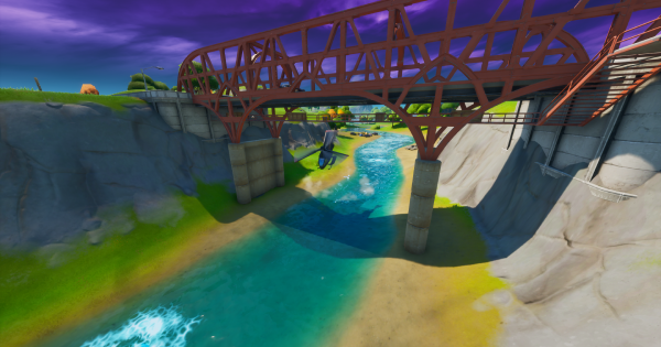 Fortnite | Fly a Choppa under Purple, Red, and Blue Steel Bridges - GameWith