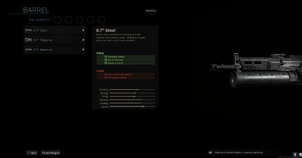 Warzone | 8.7 Steel - Barrel Stats | Call of Duty Modern Warfare - GameWith