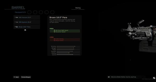【Warzone】Bruen 18.0 Para - Barrel Stats【Call of Duty Modern Warfare】 - GameWith