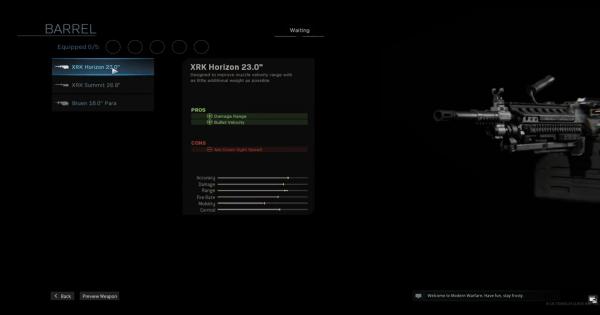 Warzone | XRK Horizon 23.0 - Barrel Stats | Call of Duty Modern Warfare - GameWith