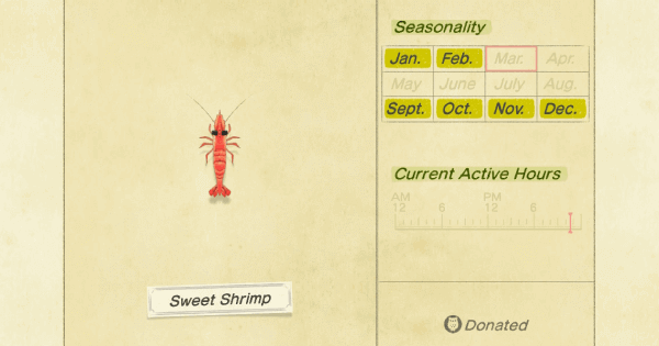 ACNH | Sweet Shrimp - How To Catch & Price | Animal Crossing - GameWith
