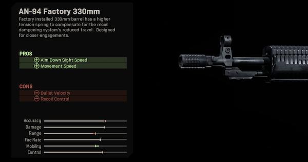 Warzone | AN-94 Factory 330mm - Barrel Stats | Call of Duty Modern Warfare - GameWith