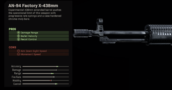 Warzone | AN-94 Factory X-438mm - Barrel Stats | Call of Duty Modern Warfare - GameWith