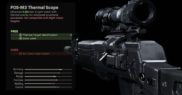 Warzone | POS-M3 Thermal Scope - Optic Stats | Call of Duty Modern Warfare - GameWith