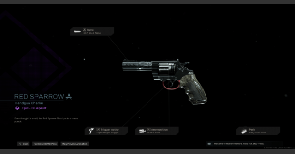 Warzone | Red Sparrow Handgun  Blueprint - Stats & How To Get | Call of Duty Modern Warfare - GameWith