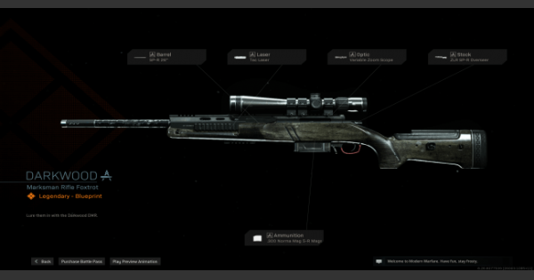 Warzone   Darkwood Marksman Rifle  Blueprint - Stats & How To Get   Call of Duty Modern Warfare - GameWith