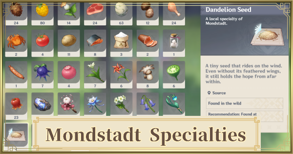 Local Mondstadt Specialties - Farming Locations | Genshin Impact - GameWith