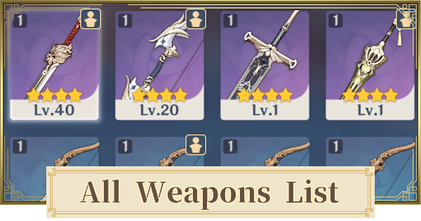 All Weapons List