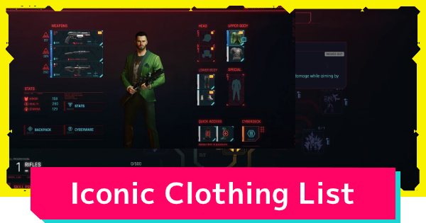 Cyberpunk 2077 | Iconic Clothing List - Where To Get - GameWith