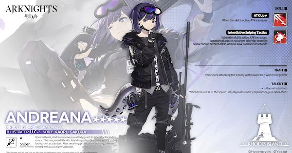 Arknights | Andreana - Operator Character Stats & Skills - GameWith