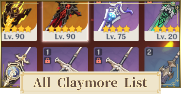 Genshin Impact | All Claymore List - GameWith
