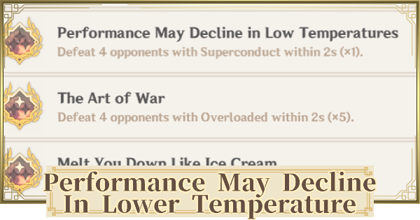 Performance May Decline in Low Temperatures - Achievement Guide | Genshin Impact - GameWith