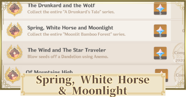 Spring, White Horse and Moonlight - Achievement Guide | Genshin Impact - GameWith