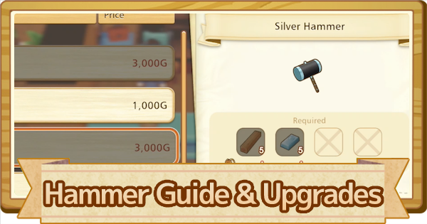 Hammer - How To Use & Upgrade List | Story of Seasons Pioneers of Olive Town (SoS PoOT) - GameWith