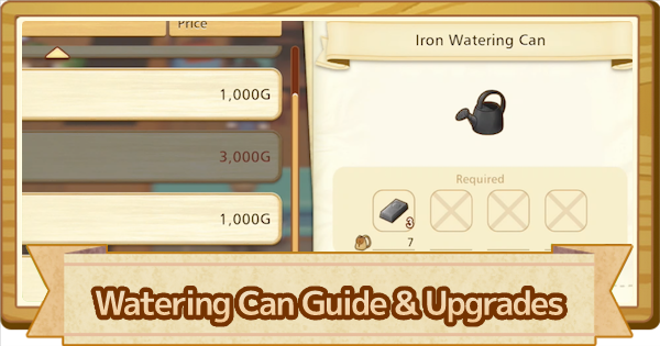 Watering Can - How To Use & Upgrade List | Story of Seasons Pioneers of Olive Town (SoS PoOT) - GameWith