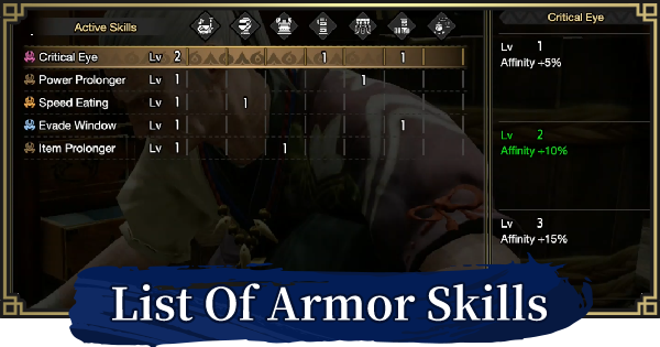 MH Rise | Skill List - Effect By Level | MONSTER HUNTER RISE (MHR) - GameWith