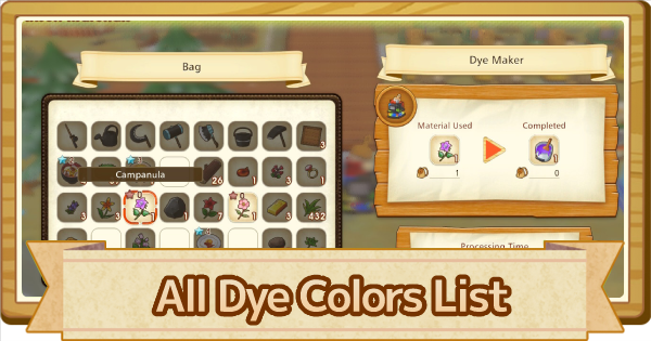All Dye Color List - How To Make & Unlock | Story of Seasons Pioneers of Olive Town (SoS PoOT) - GameWith