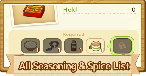 All Seasoning List - How To Get & Craft | Story of Seasons Pioneers of Olive Town (SoS PoOT) - GameWith