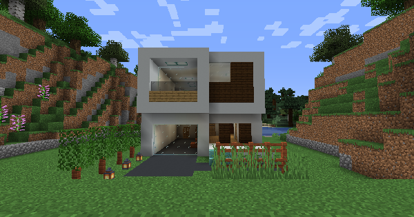 Modern House (Mc Puzon) - Blueprint & How To Build | Minecraft Ideas - GameWith