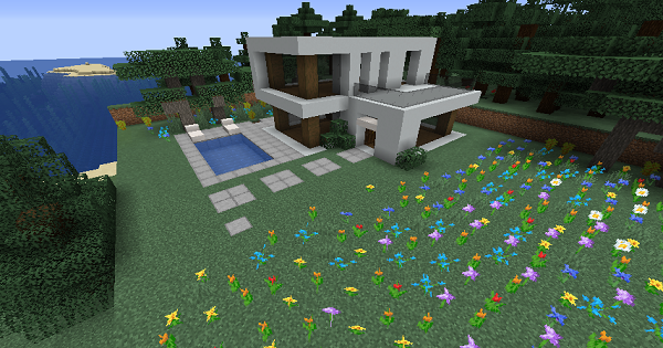 Modern House (Mithers) - Blueprint & How To Build | Minecraft Ideas - GameWith