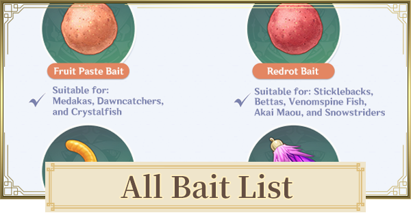 All Fishing Baits List For Fishing | Genshin Impact - GameWith