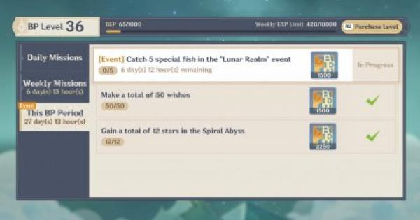 Catch 5 Special Fish In The Lunar Realm Event Challenge