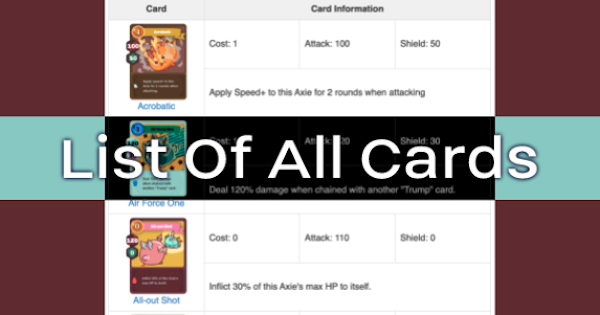 Axie Infinity | All Cards List - Guide & Effects - GameWith
