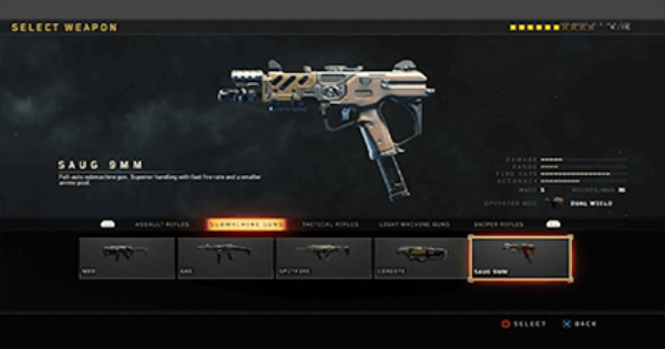 CoD: BO4   SAUG 9MM SMG -  Stats, Tips, Unlock Level & Attachments   Call of Duty: Black Ops 4 - GameWith