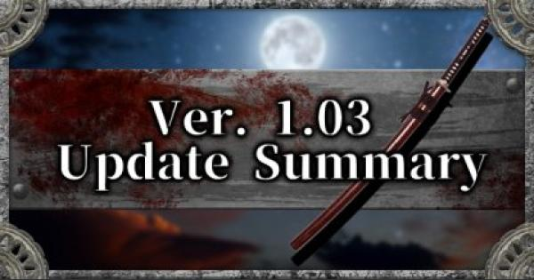 Apr. 22 Update - Ver. 1.03 Patch Notes Summary