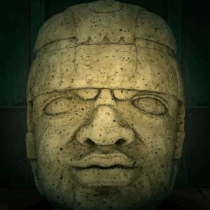 Rock-head statue
