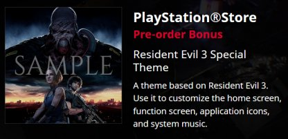 PS4 Digital version - RE3 special theme
