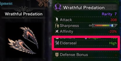 Weapon Feature That Debuffs Elder Dragons