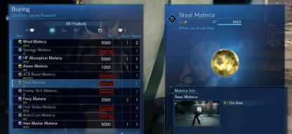 You can get the steal materia from Chadley