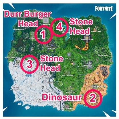 Drift Painted Durrr Burger Head, Dinosaur, & Stone Head Statue Location
