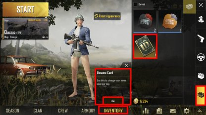 Pubg Mobile How To Change Name With Id Card - use id card in inventory