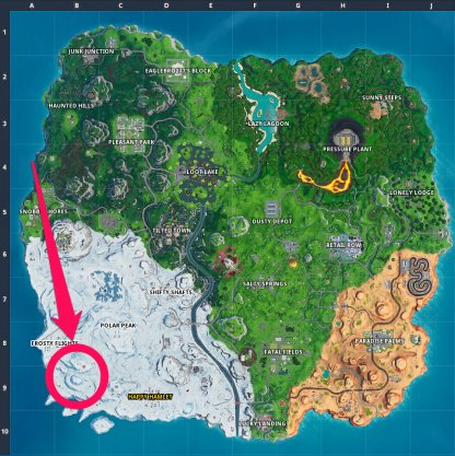 Southeast of Frosty Flights Map