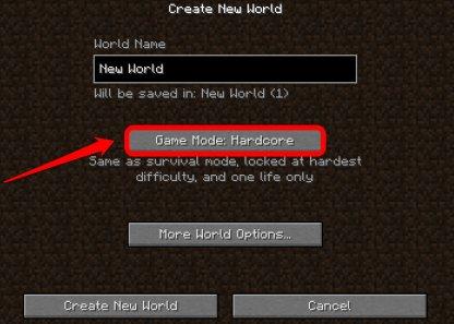 Choose Hardcore Game Mode