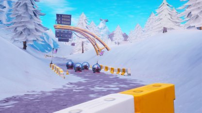 Snowy Race Track Location Close Up