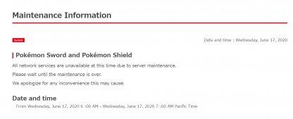Online Maintenance June 17