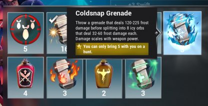 Equip & Throw Elemental Grenades